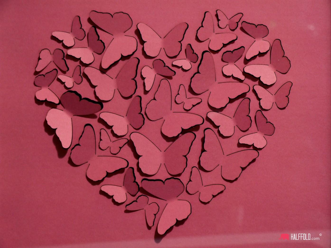 Obraz 3d serce z motyli walentynki 2