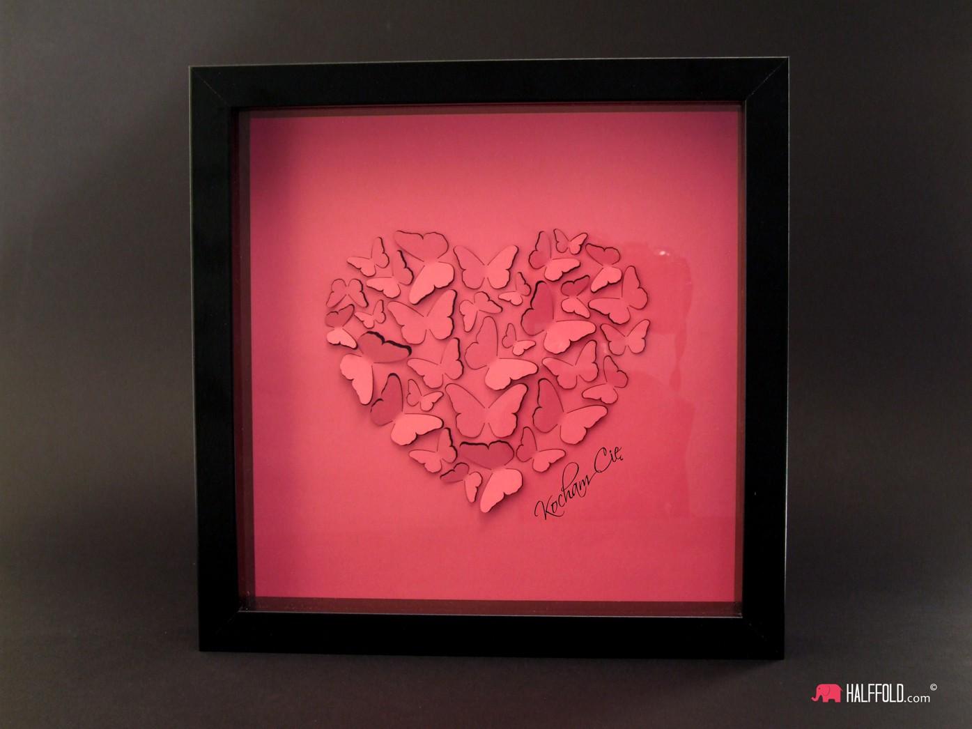Obraz 3d serce z motyli walentynki podziękowanie