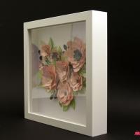Obraz 3d kwiaty serce walentynki bok