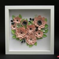 Obraz 3d kwiaty serce walentynki